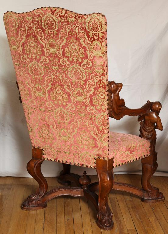 Important Italian Baroque Style Walnut Open Armchair 4