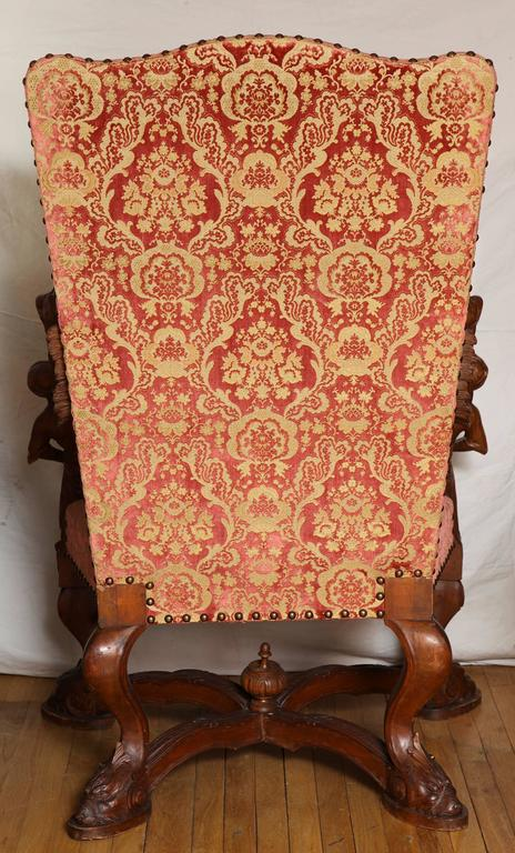 Important Italian Baroque Style Walnut Open Armchair 5