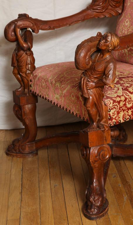 Important Italian Baroque Style Walnut Open Armchair 6