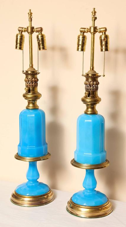 Louis XVI Pair of French Opaline Oil Lamps For Sale