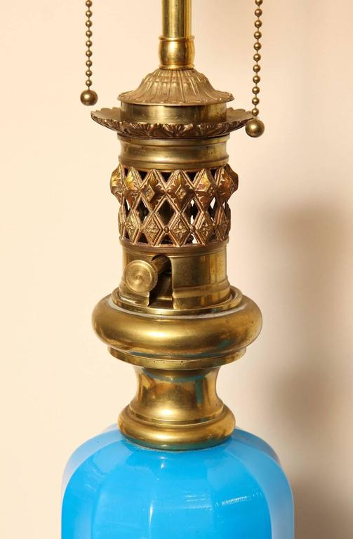 Brass Pair of French Opaline Oil Lamps For Sale