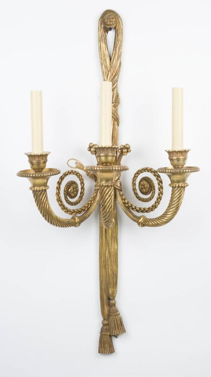 Pair of French Louis XVI Style Three-Light Sconces 2