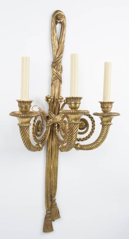 Pair of French Louis XVI Style Three-Light Sconces 3