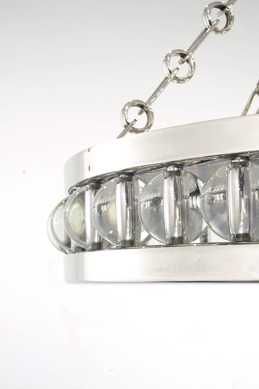 Art Deco Tambour Pendant Fixture with Chain For Sale