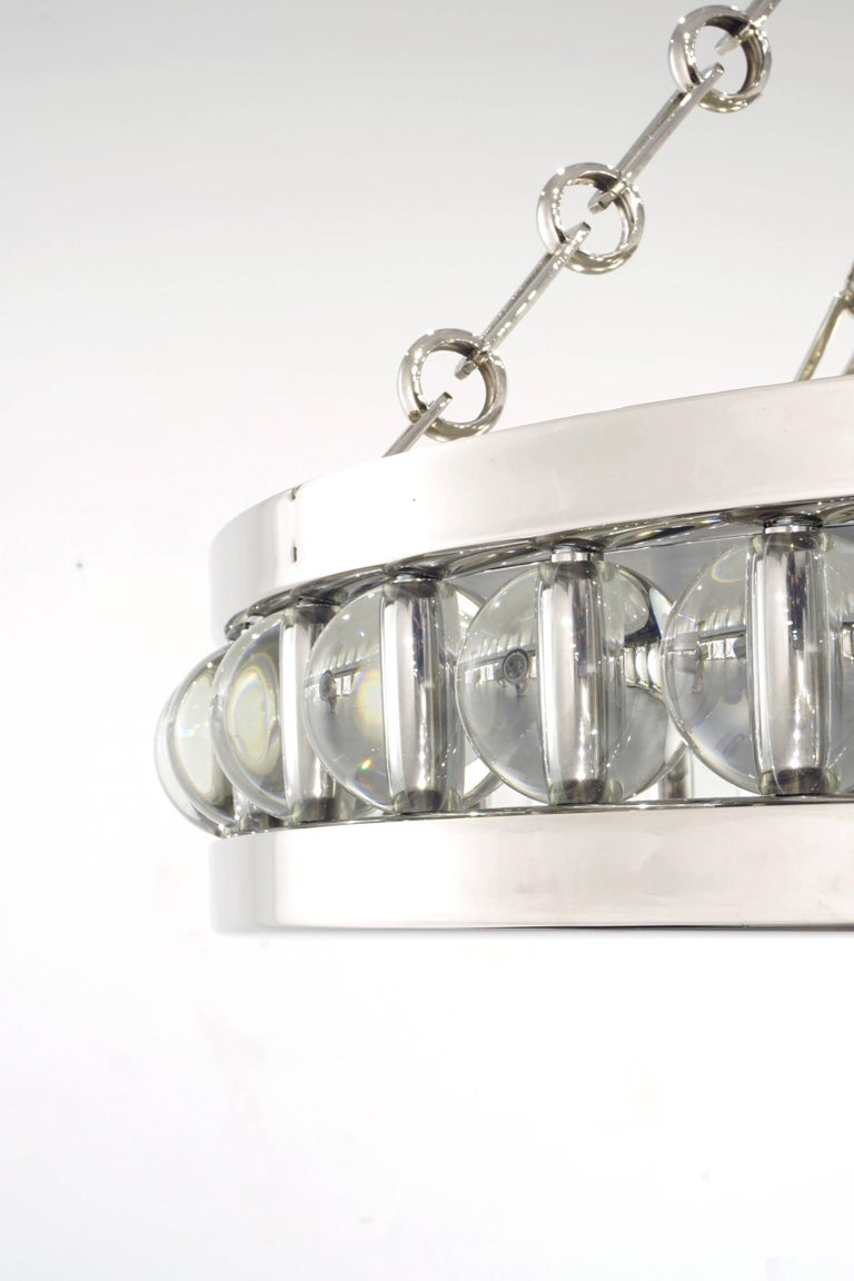 """Art Deco A 30"""" Tambour Pendant Fixture with Chain For Sale"""