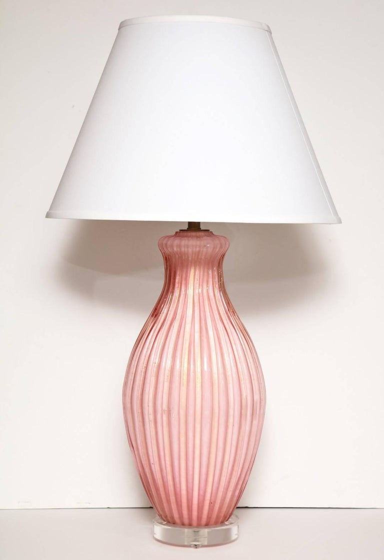 Pair of Italian Pink Murano Glass Table Lamps 2