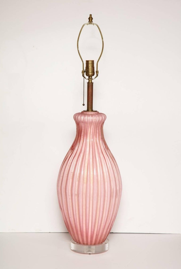 Pair of Italian Pink Murano Glass Table Lamps 4