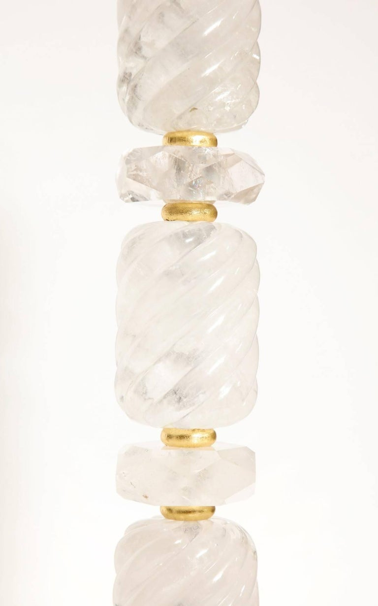 Pair of New Stacked Rock Crystal Table Lamps 3