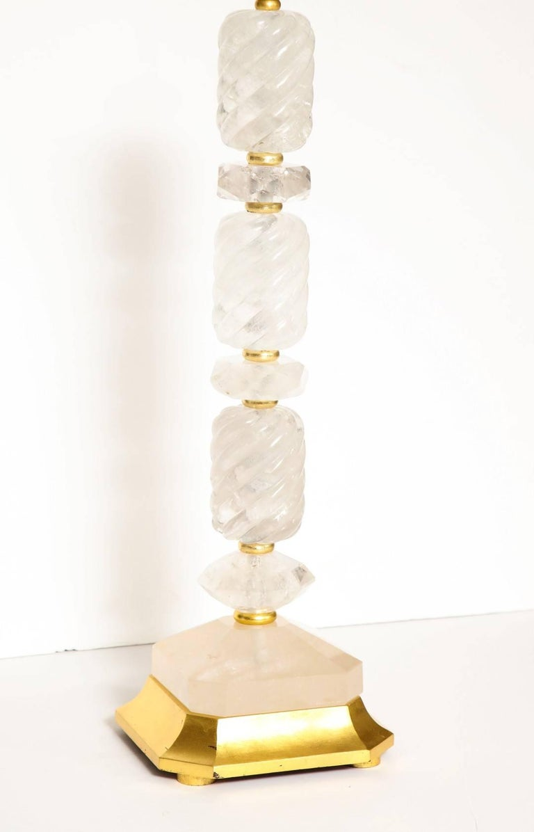 Pair of New Stacked Rock Crystal Table Lamps 5