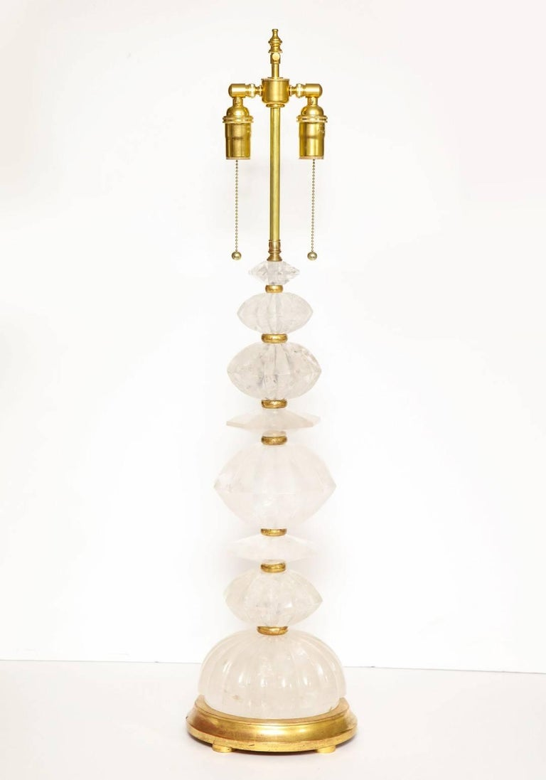 Pair of New Rock Crystal Table Lamps 2
