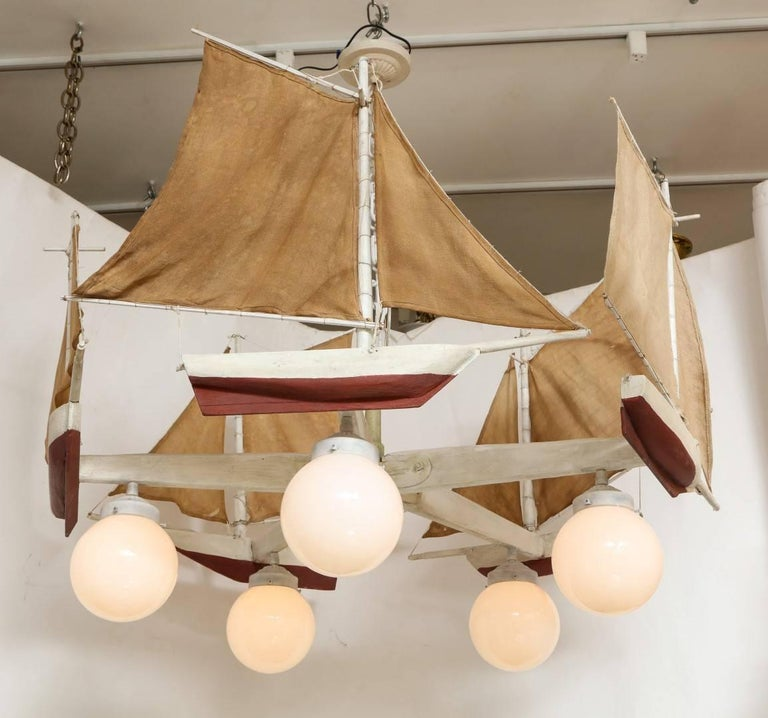 Folk Art American Five-Light Sailboat-Form Chandelier For Sale