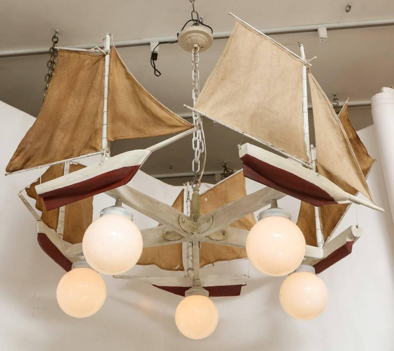 American Five-Light Sailboat-Form Chandelier In Excellent Condition For Sale In New York, NY