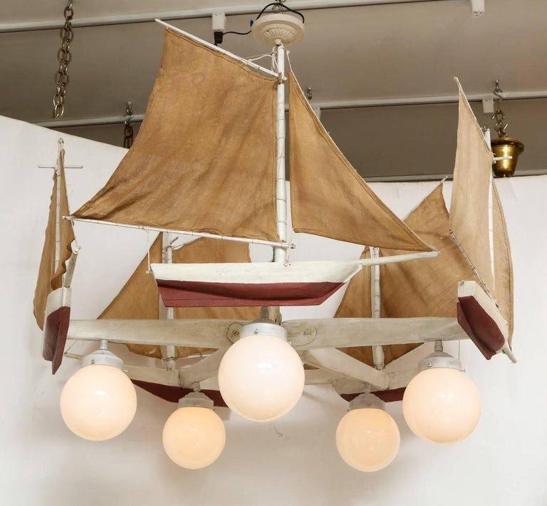 Mid-20th Century American Five-Light Sailboat-Form Chandelier For Sale