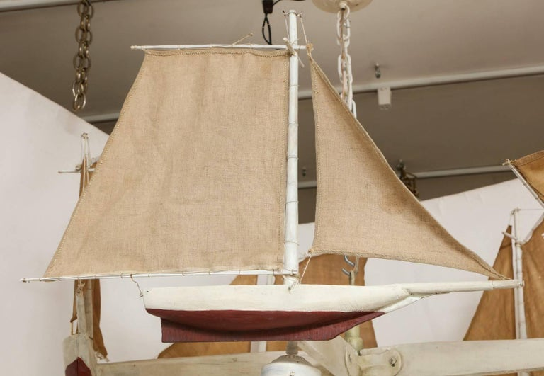 Linen American Five-Light Sailboat-Form Chandelier For Sale