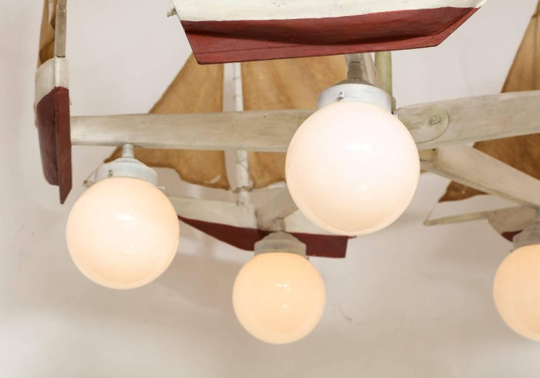 American Five-Light Sailboat-Form Chandelier For Sale 1