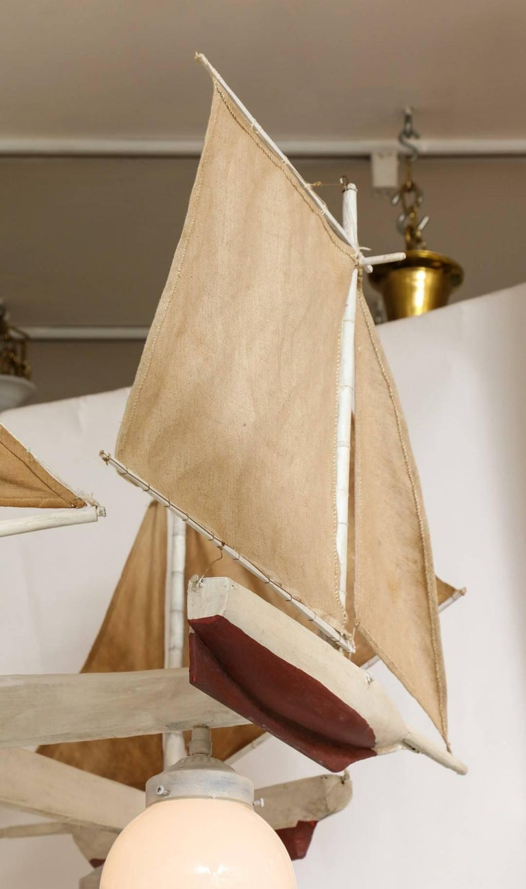 American Five-Light Sailboat-Form Chandelier For Sale 3
