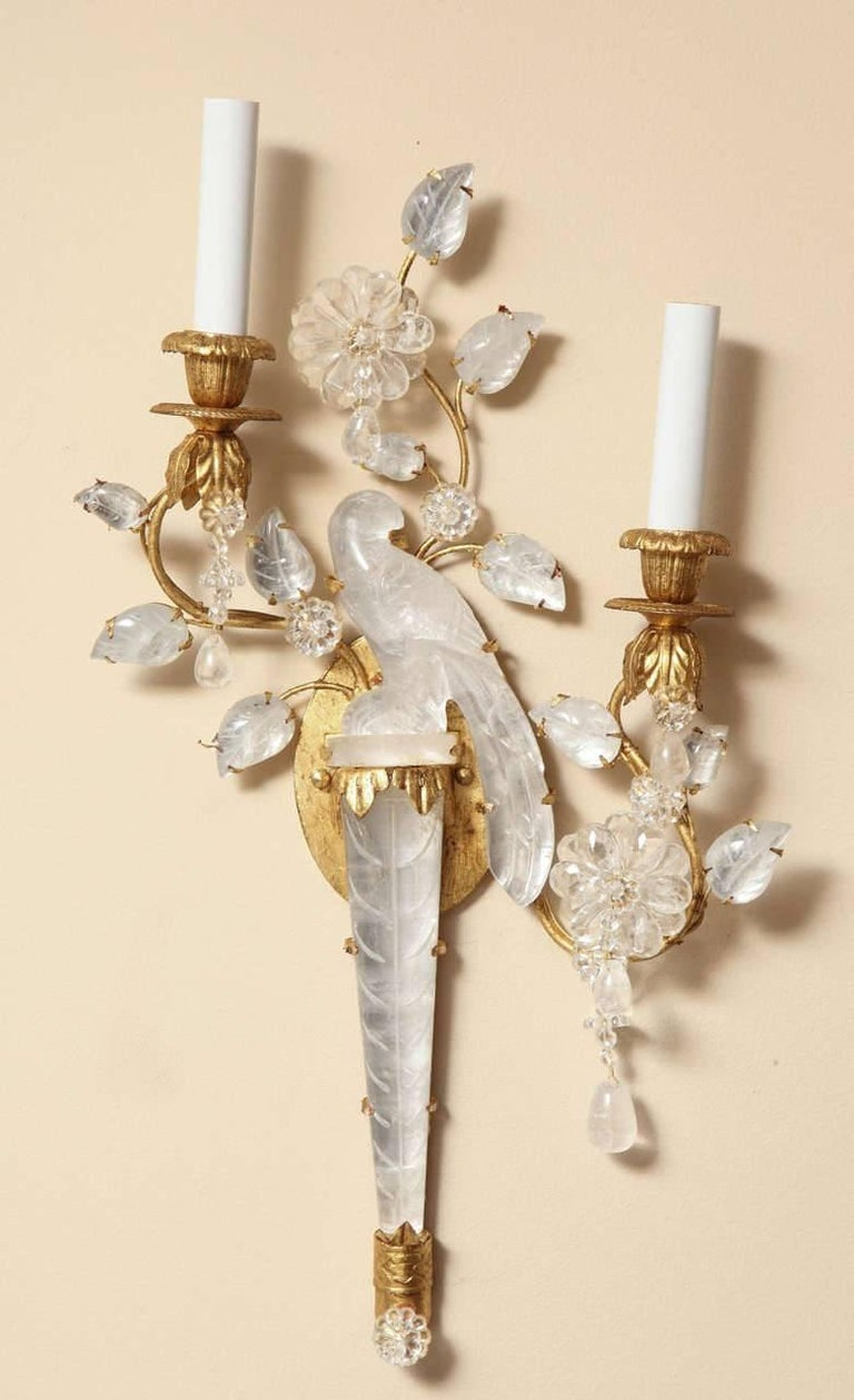 Pair of New Bagues Style Two-Light Rock Crystal Sconces 2