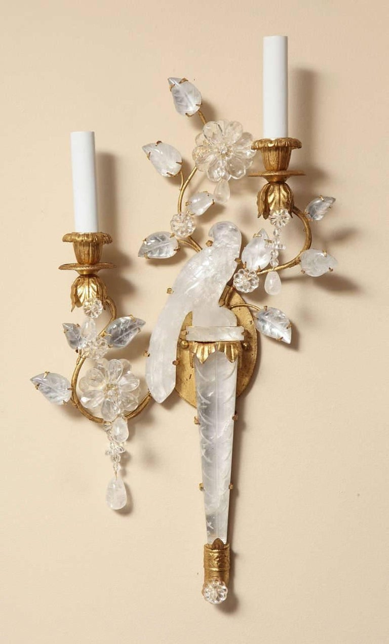 Pair of New Bagues Style Two-Light Rock Crystal Sconces 3