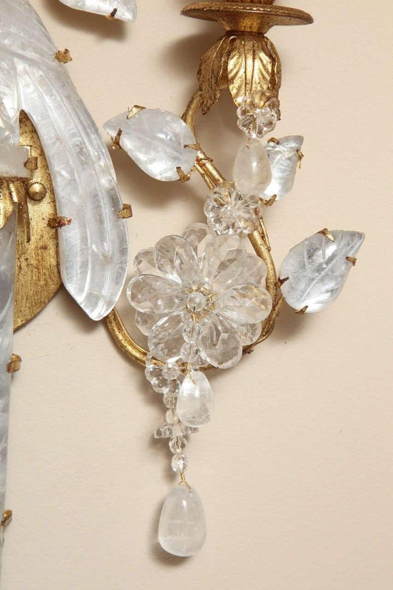 Pair of New Two-Light Rock Crystal Sconces 4