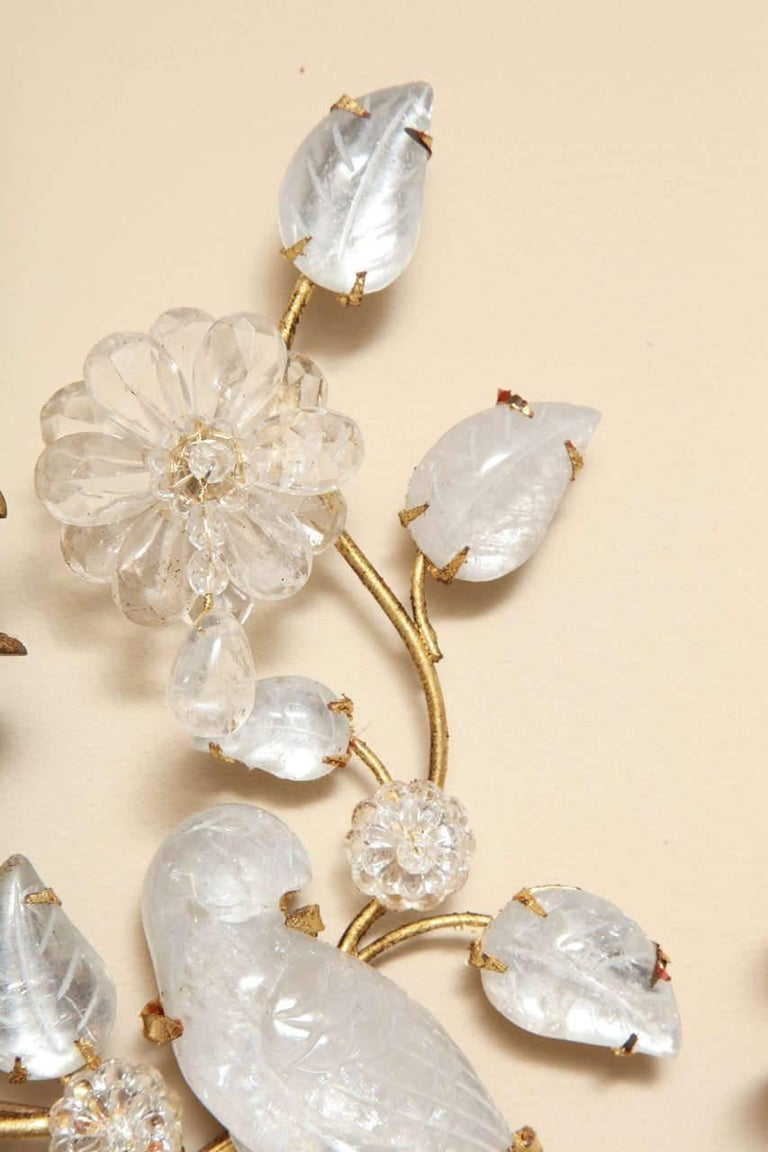 Pair of New Two-Light Rock Crystal Sconces 5