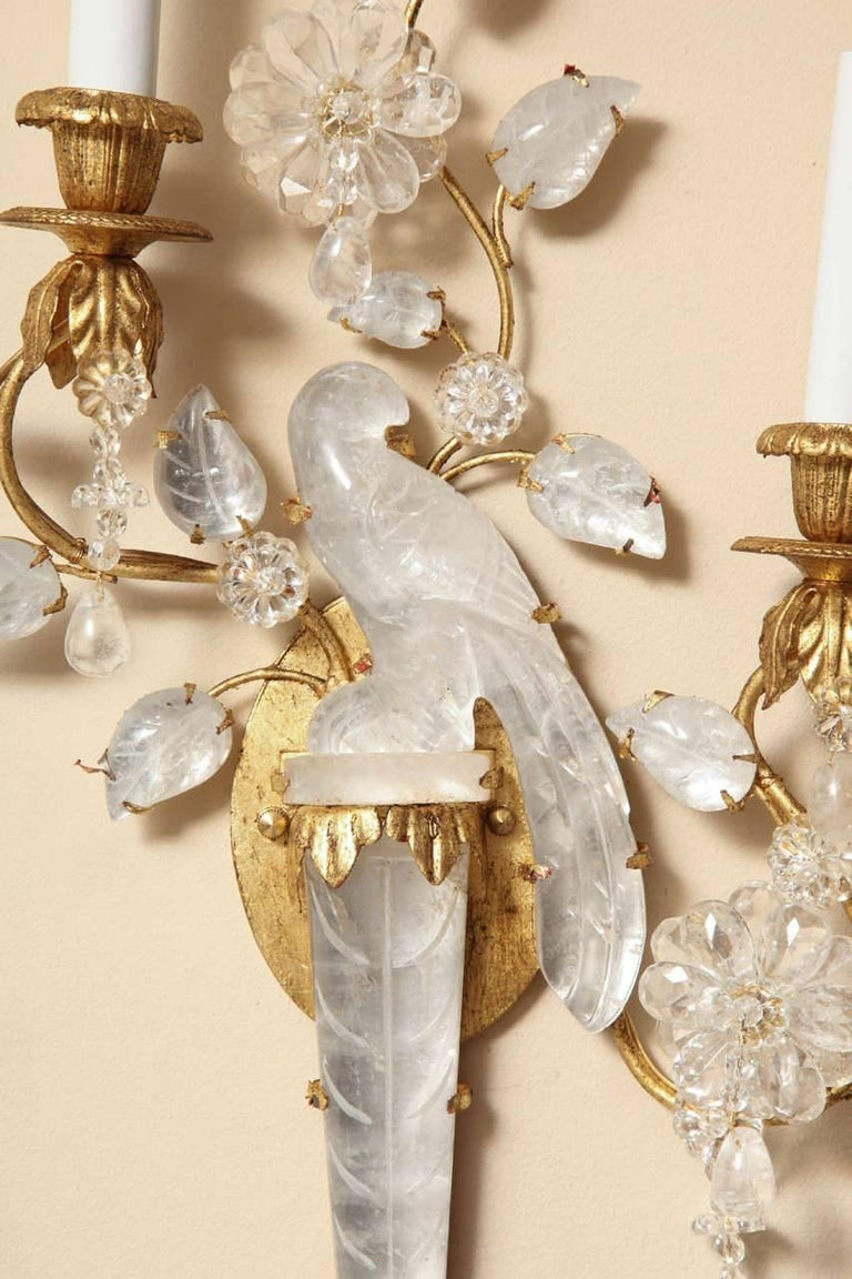 Pair of New Bagues Style Two-Light Rock Crystal Sconces 6