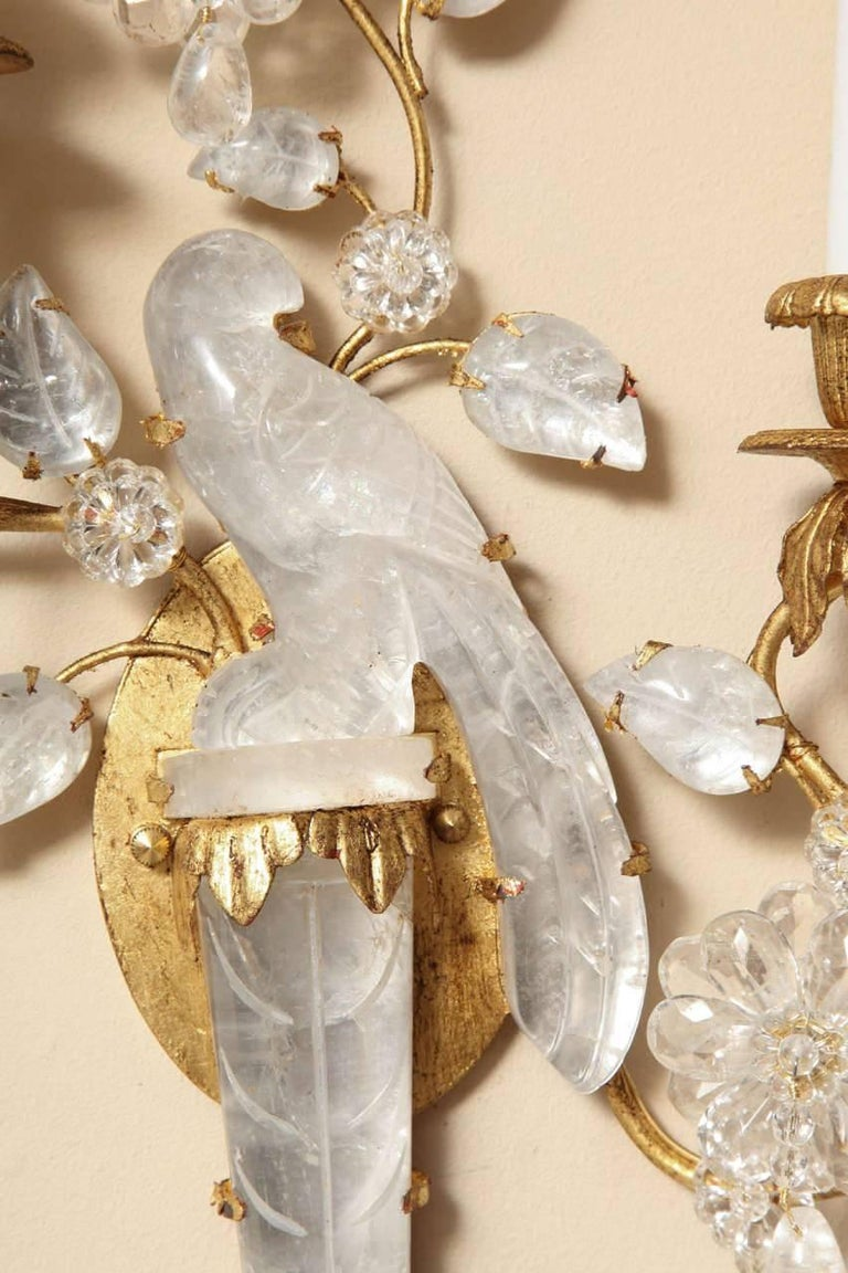 Pair of New Bagues Style Two-Light Rock Crystal Sconces 7