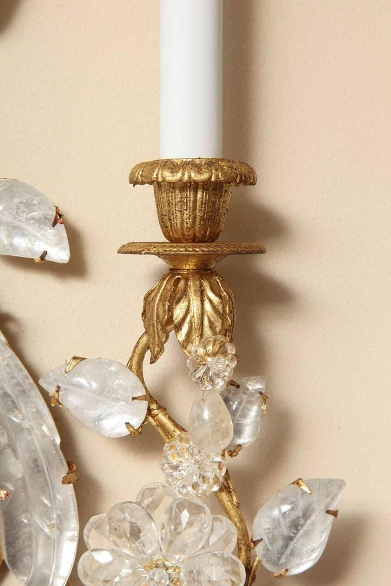 Pair of New Bagues Style Two-Light Rock Crystal Sconces 9
