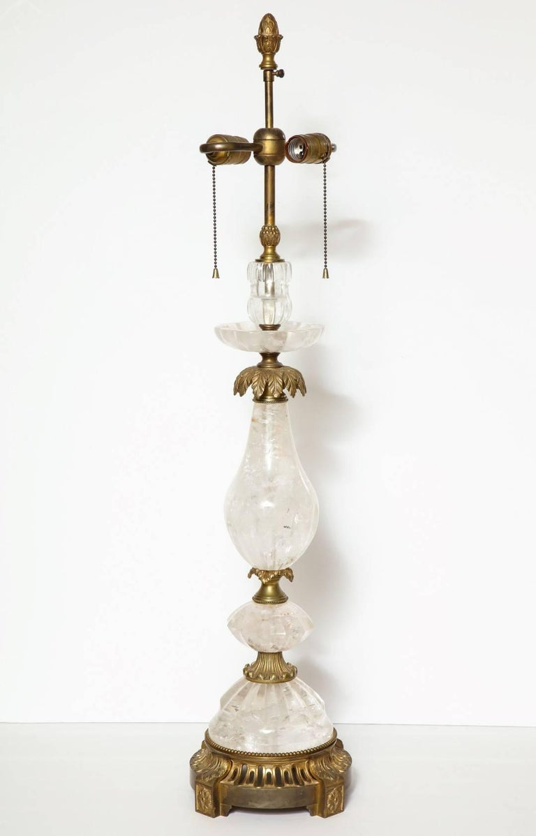 Contemporary Pair of Brass-Mounted Rock Crystal Table Lamps For Sale