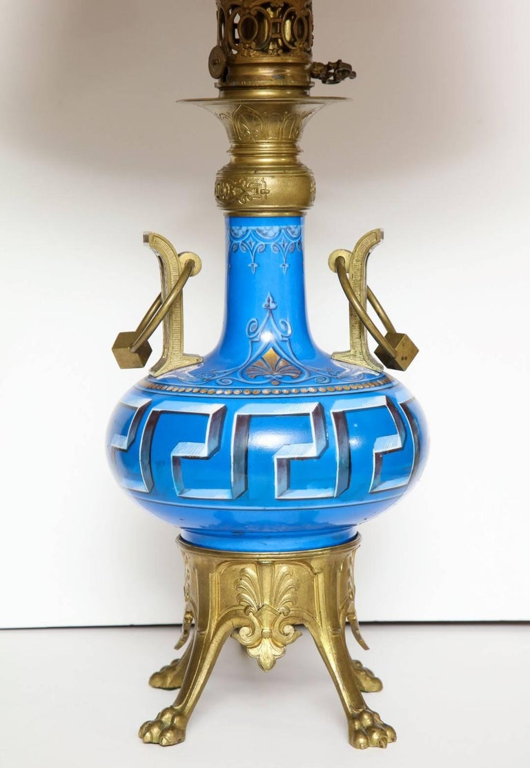Napoleon III Pair of Neo-Grec Ormolu-Mounted Oil Lamps Converted to Electricity For Sale