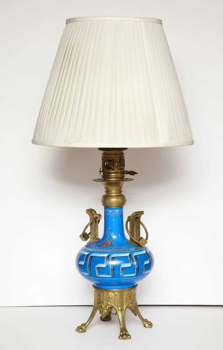 Pair of Neo-Grec Ormolu-Mounted Oil Lamps Converted to Electricity In Good Condition For Sale In New York, NY