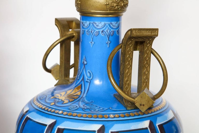 Pair of Neo-Grec Ormolu-Mounted Oil Lamps Converted to Electricity For Sale 1
