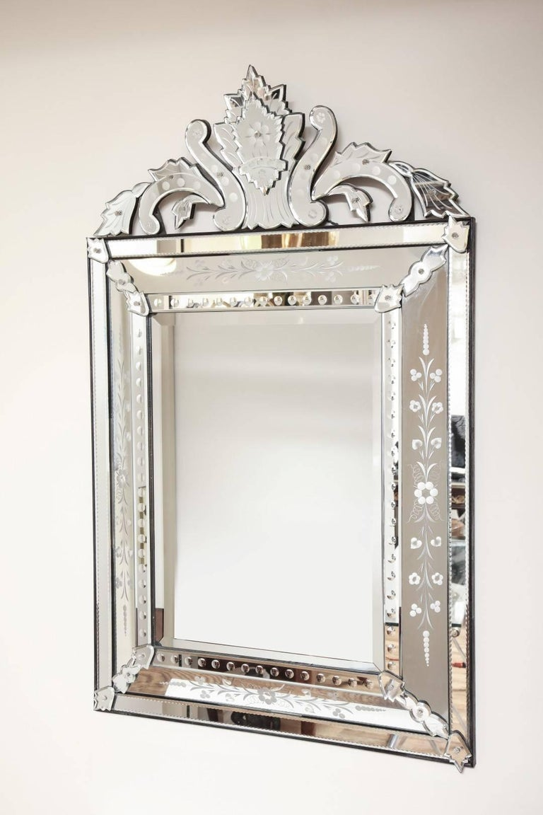 Venetian Etched Glass Mirror  For Sale 1
