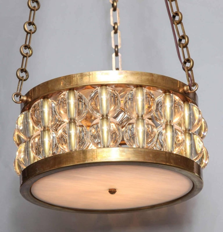 Art Deco A Two-Tiered Tambour Pendant Light With Chain  For Sale