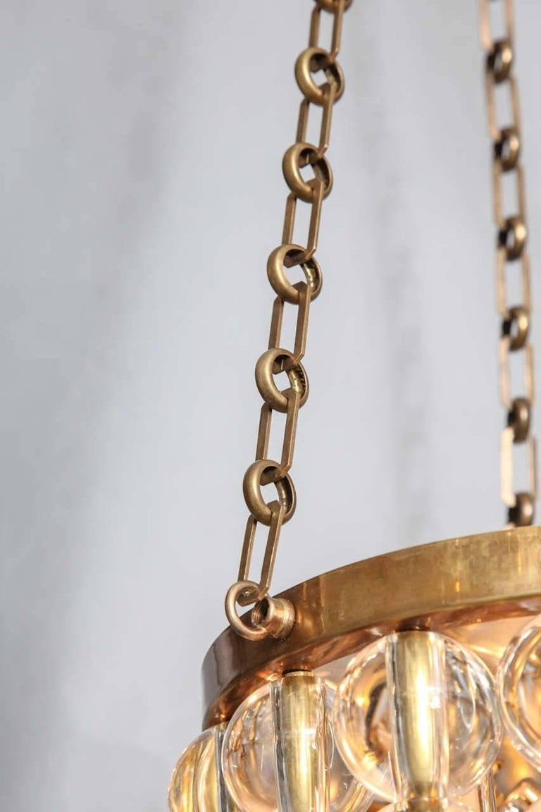 A Two-Tiered Tambour Pendant Light With Chain  In Excellent Condition For Sale In New York, NY