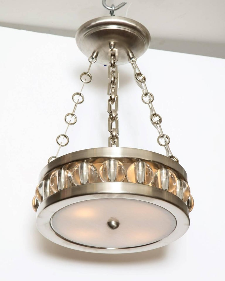 "A 12.5"" Nickel Tambour Ceiling Light with Chain 2"