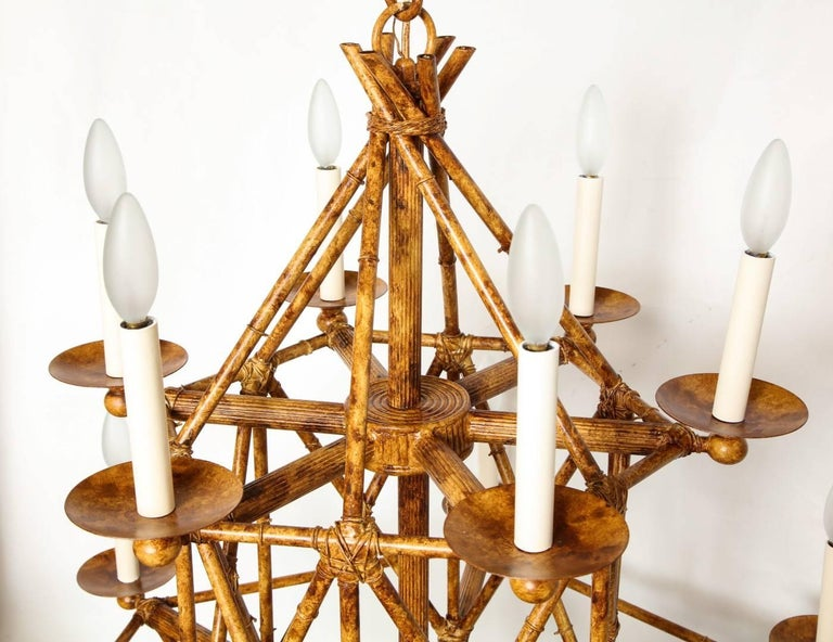 Newly made twelve light faux bamboo chandelier by david duncan at newly made twelve light faux bamboo chandelier by david duncan for sale 1 aloadofball Images