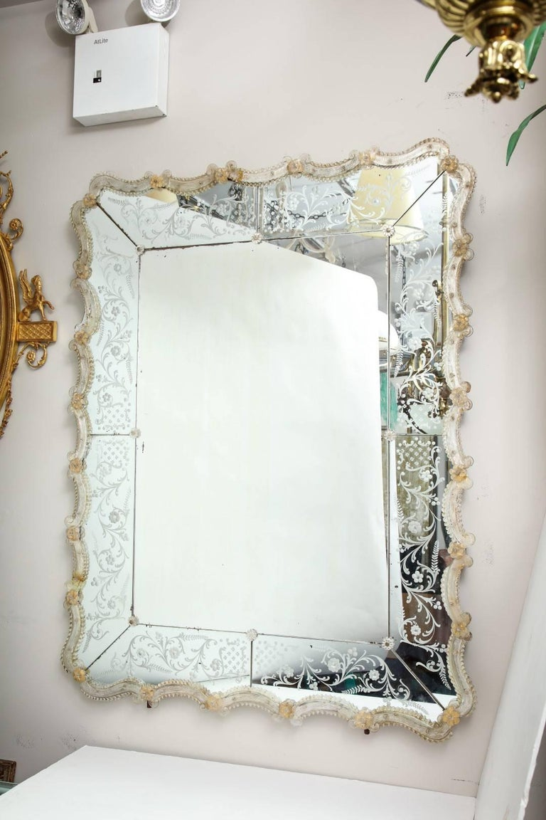 Venetian Murano Etched Glass Mirror at 1stdibs
