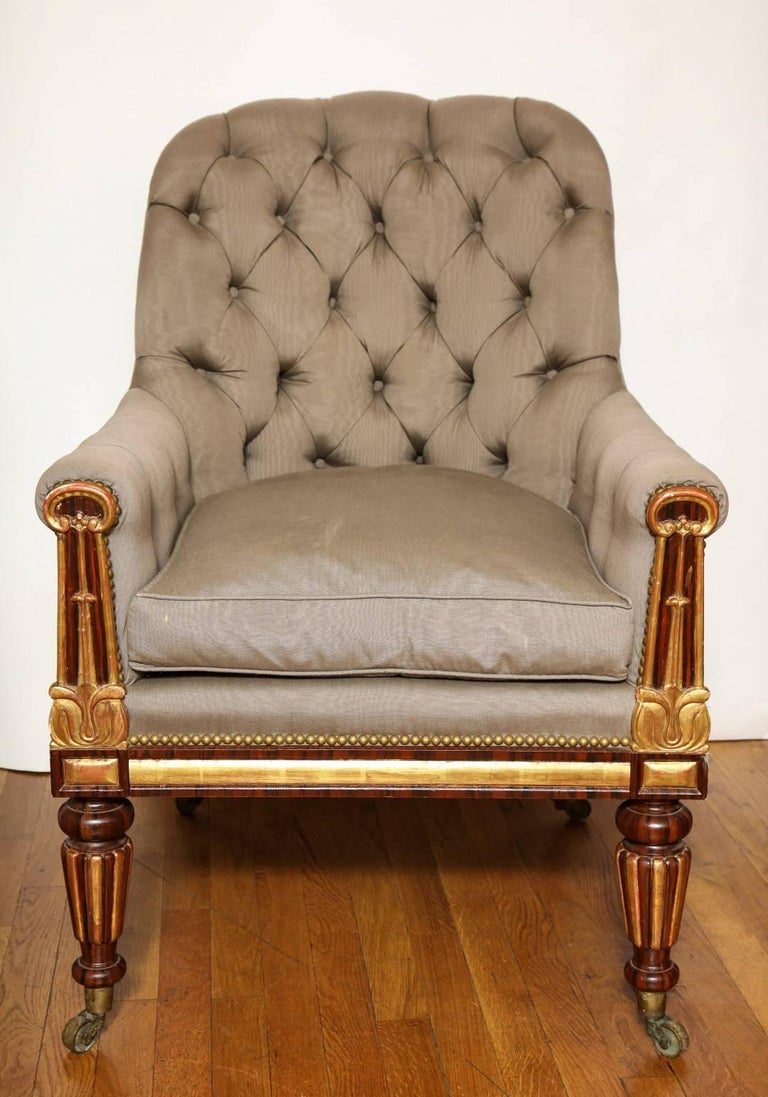 British Pair of Parcel-Gilt Regency Library Chairs For Sale