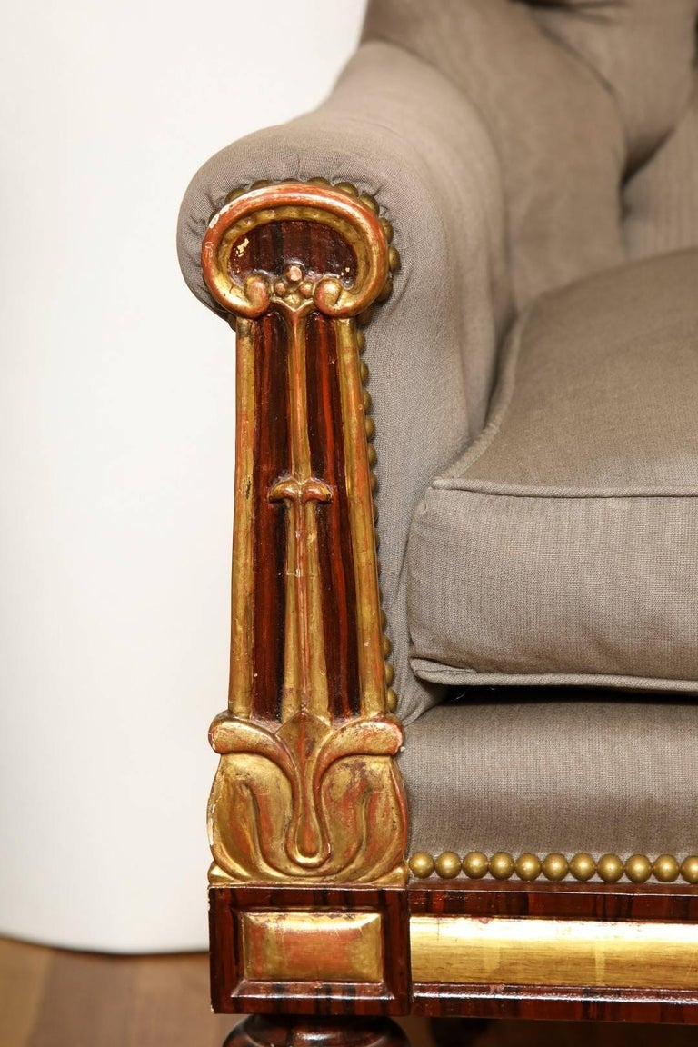Pair of Parcel-Gilt Regency Library Chairs In Excellent Condition For Sale In New York, NY