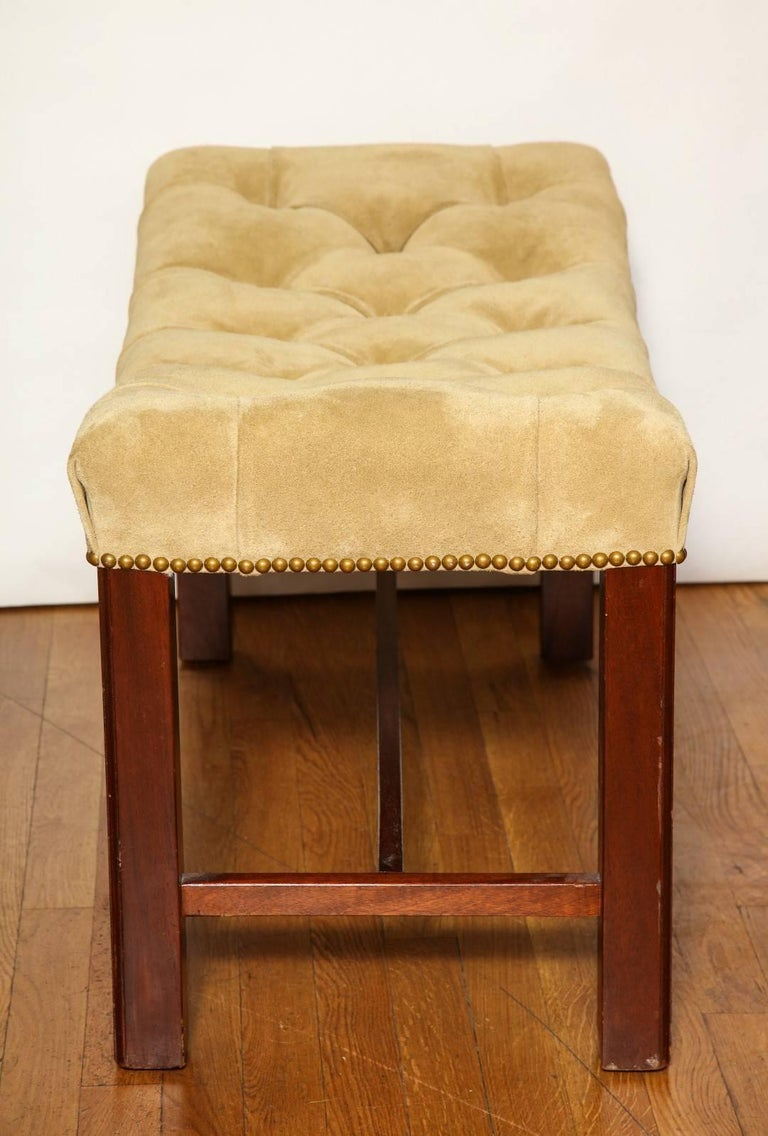 Suede Pair of Chippendale Style Benches For Sale