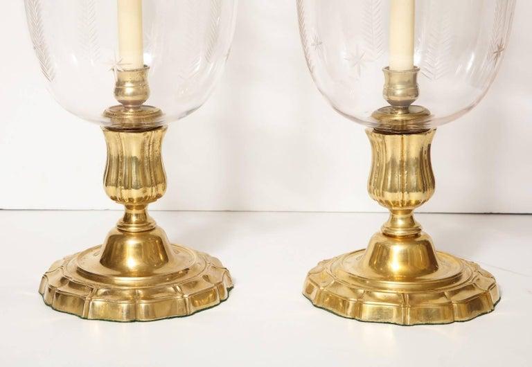 Pair of Antique Brass Hurricane Candleholders 4
