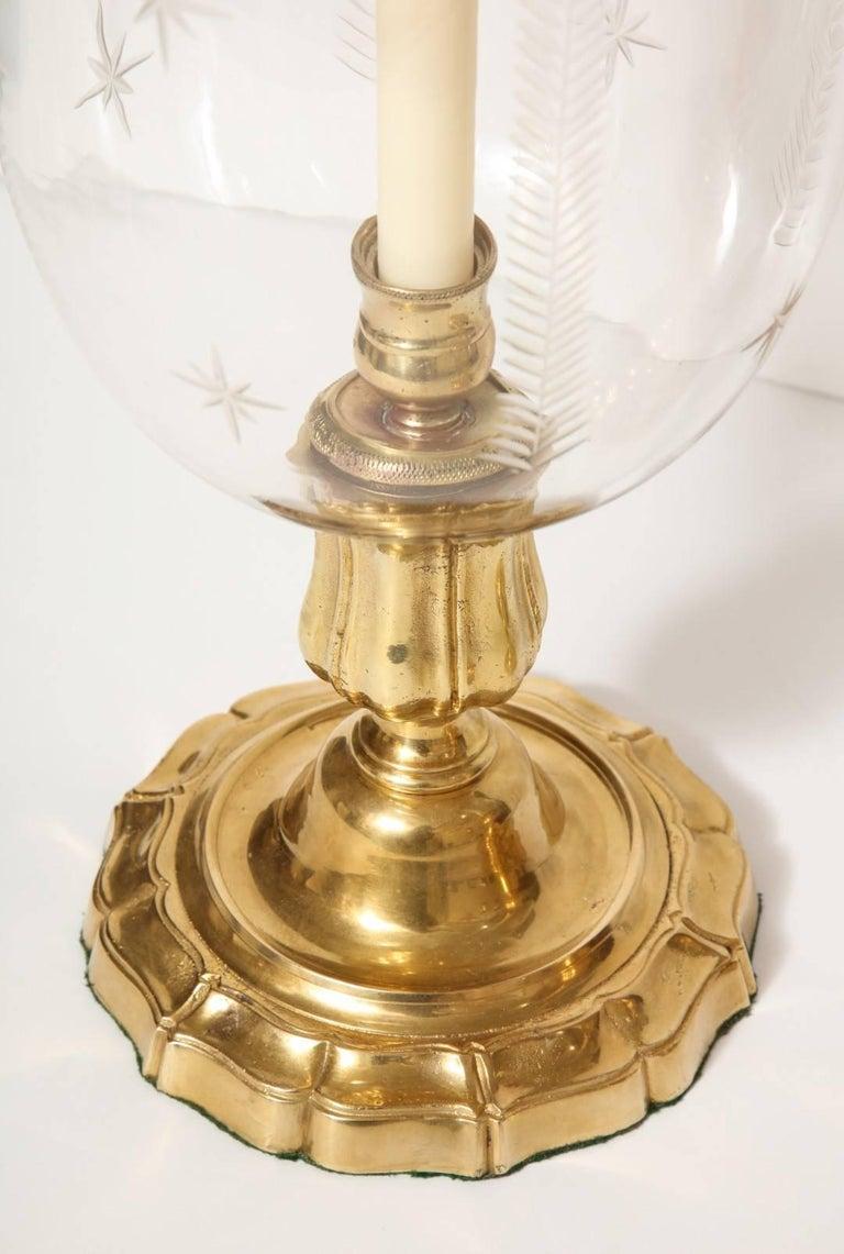 Pair of Antique Brass Hurricane Candleholders 5