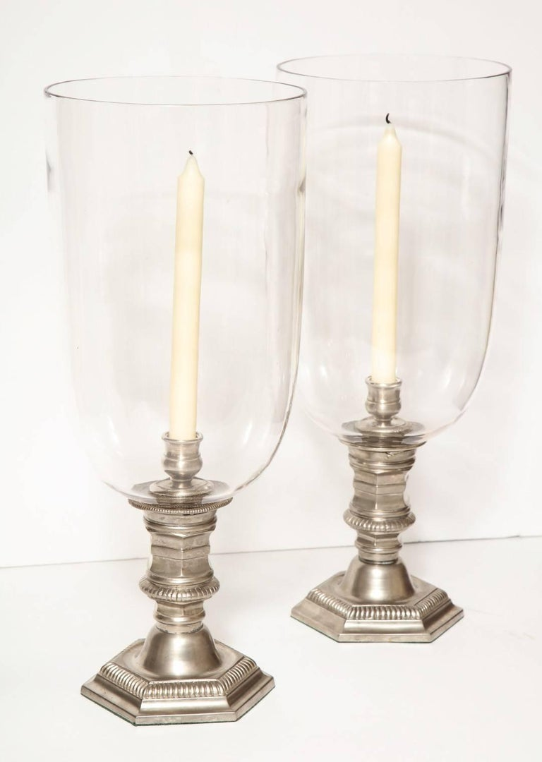 Pair of Silver Plated Hurricane Candleholders In Excellent Condition For Sale In New York, NY