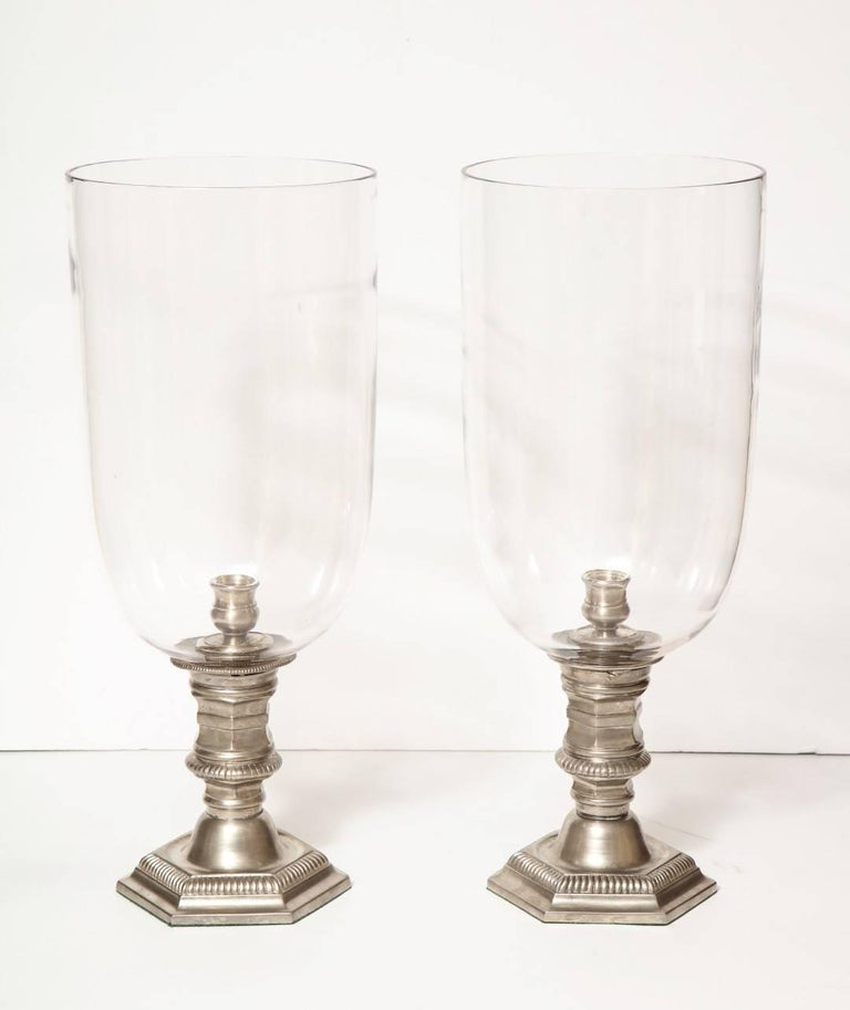 Early 20th Century Pair of Silver Plated Hurricane Candleholders For Sale