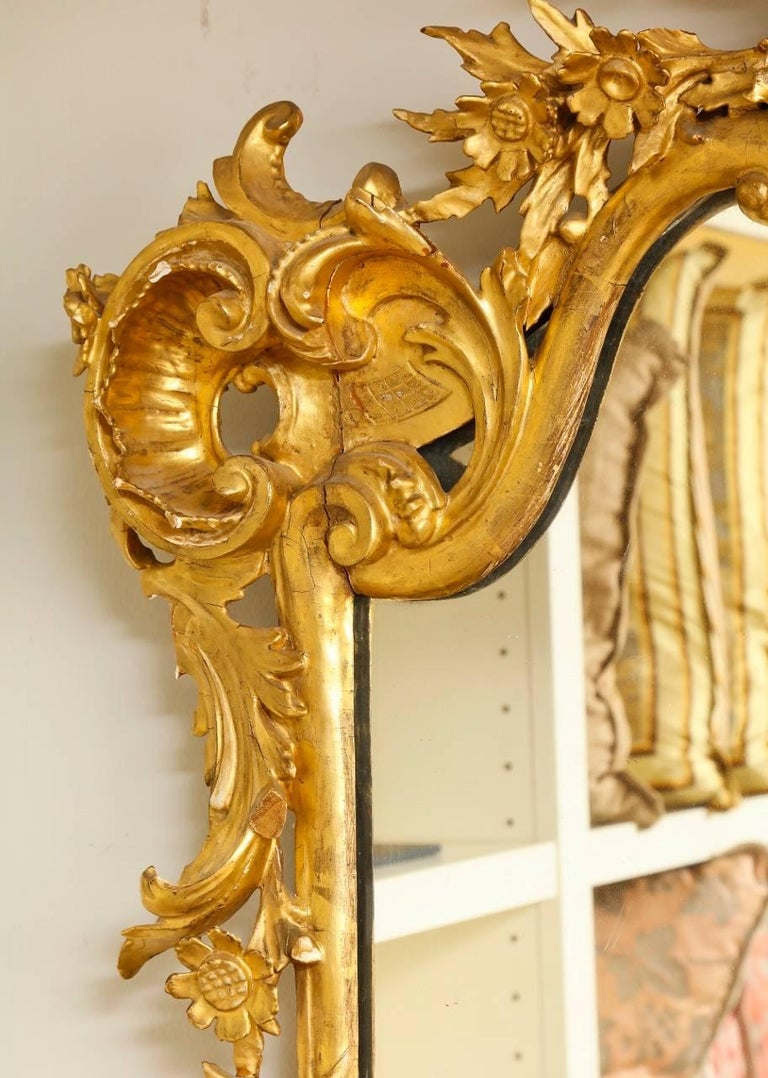 Wood Rococo Style Carved Giltwood Mirror For Sale