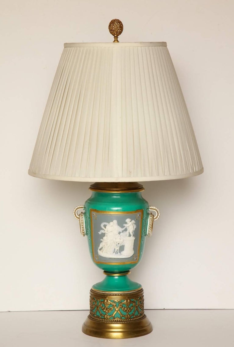 Louis XVI A Pair of Green Ground Pate -Sur-pate Table Lamps For Sale