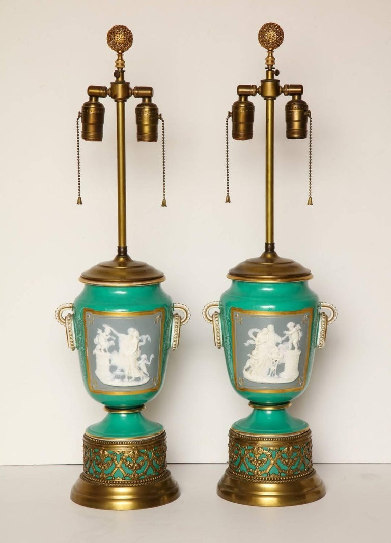 French A Pair of Green Ground Pate -Sur-pate Table Lamps For Sale