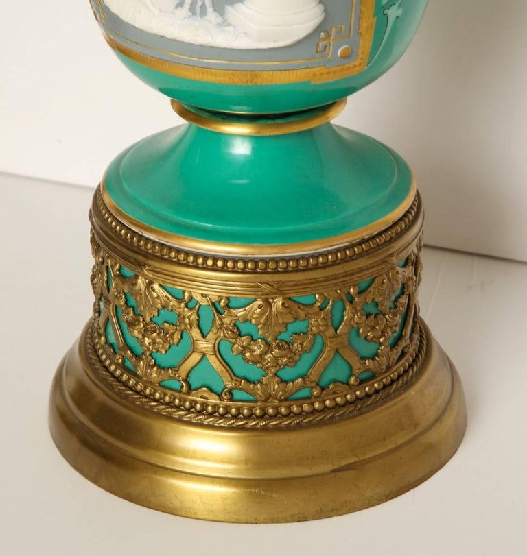 Brass A Pair of Green Ground Pate -Sur-pate Table Lamps For Sale