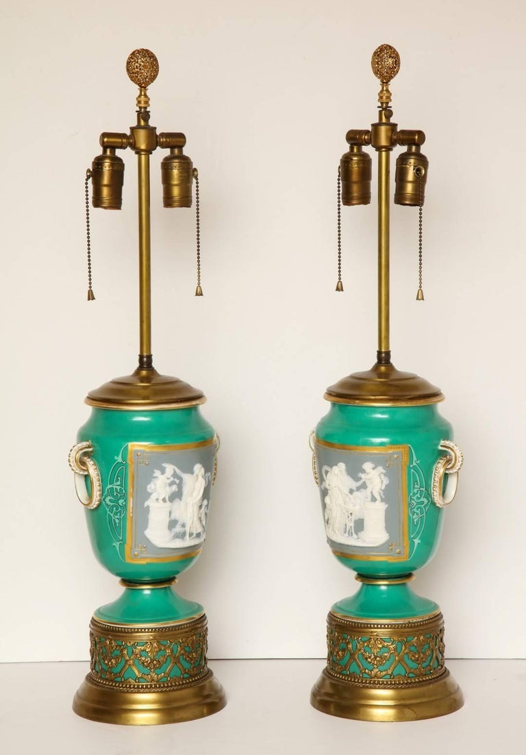 A Pair of Green Ground Pate -Sur-pate Table Lamps For Sale 1