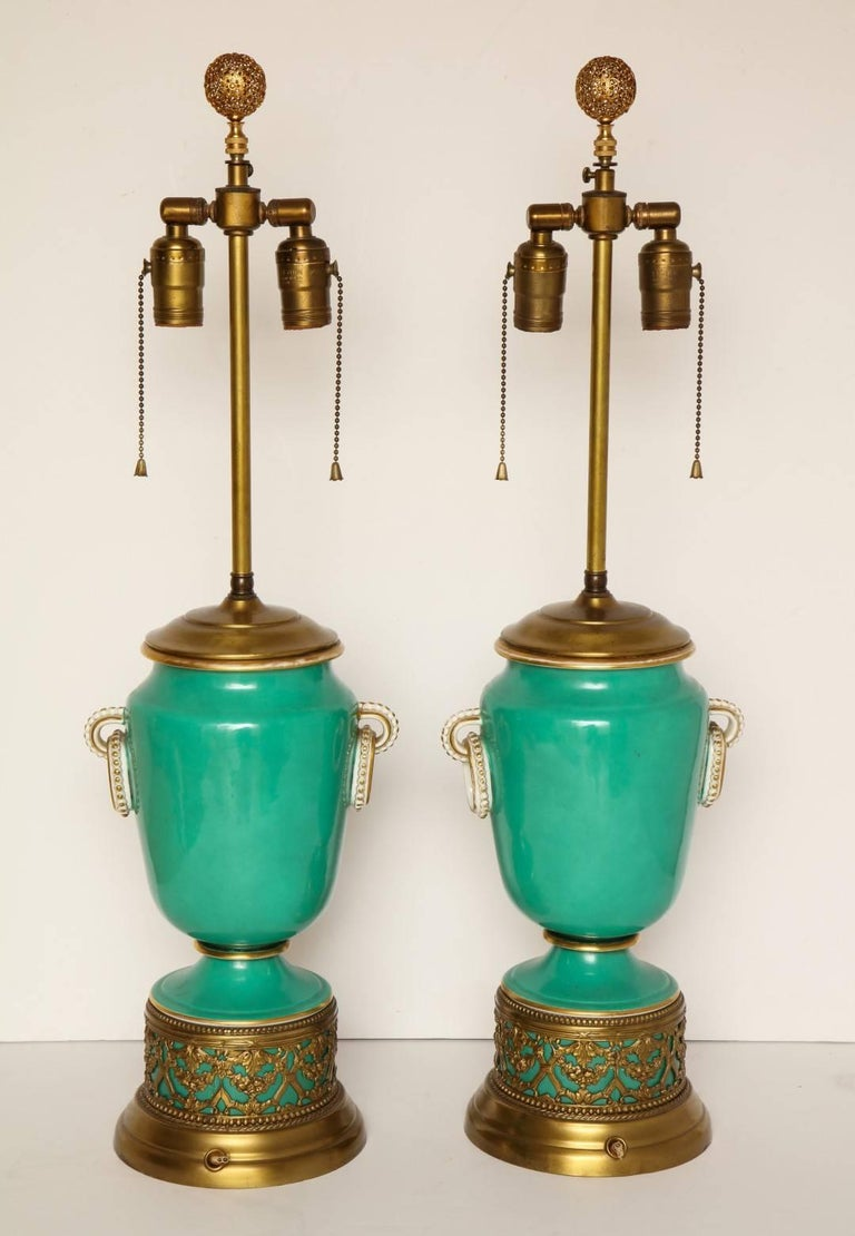 A Pair of Green Ground Pate -Sur-pate Table Lamps For Sale 3
